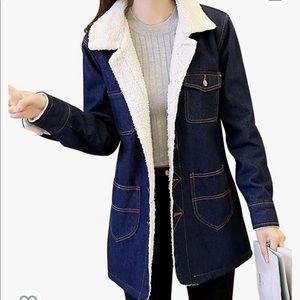 Sherpa hooded denim coat jacket